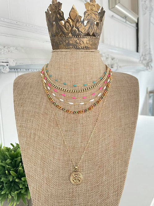 """""""Multi-Colored Chunky Chain"""" Necklace"""