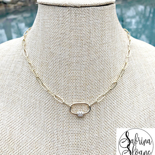 """Petite Gold Carabiner Paper Clip"" Necklace"