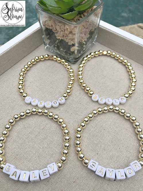 """Personalized Gold Bead"" Bracelets"