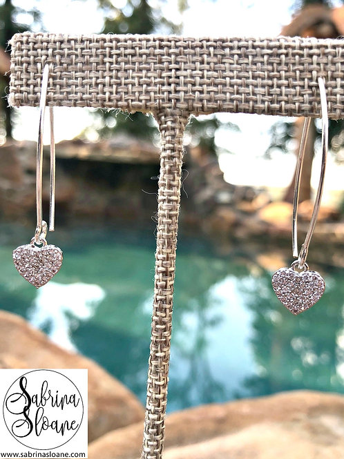"""Heart"" Crystal Pave Earrings"