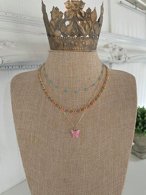 """""""Pink Butterfly"""" Necklace"""