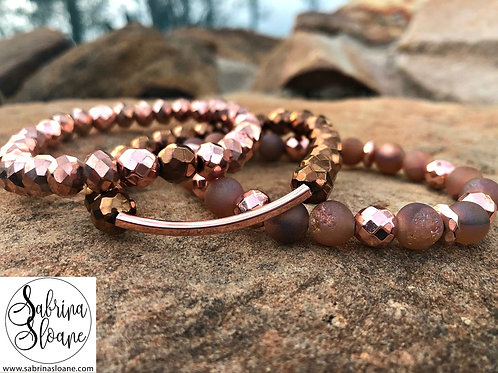 """Rose Gold"" Natural Stone Trio"