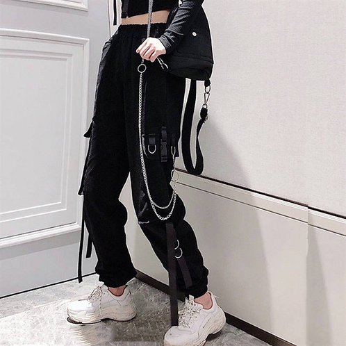 Cargo Pants with Chain and Straps