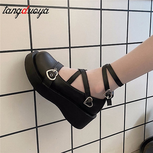 Platform Strappy Mary Janes with Heart Buckles