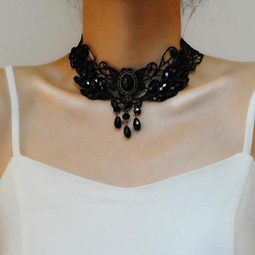 Black Beaded Gothic Choker