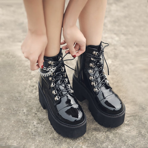 Black Chunky Ankle Boots with Chain Detail