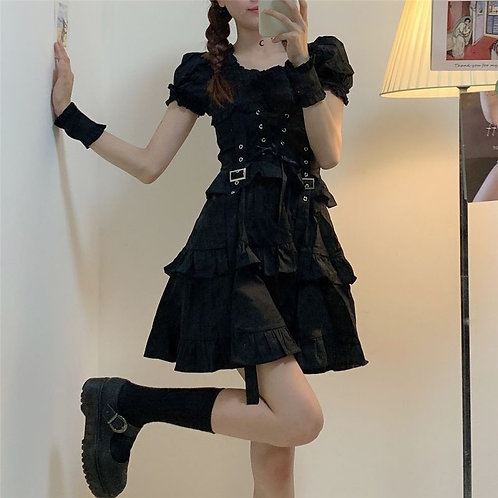 Black Bandage Dress with Puff Sleeves