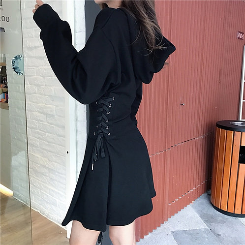 Hooded Lace Up Dress
