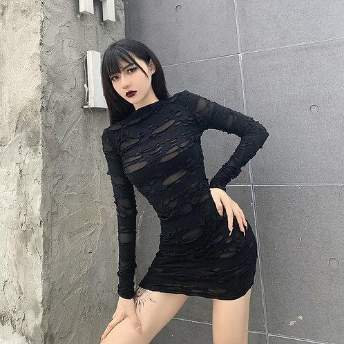 Black Mini Dress Ripped Look
