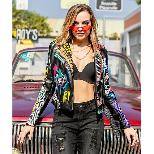 PU Leather Jacket Graffiti
