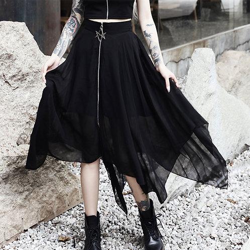 Mesh Irregular Skirt Pentagram Zipper