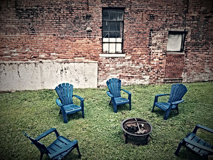 fire pit on the grounds of Hatfield McCoy House Inn