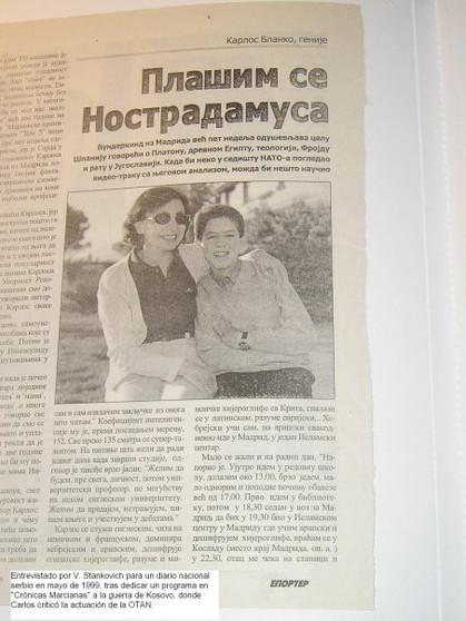 Entrevista para un diario serbio en 1999