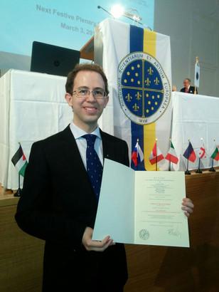 Carlos Blanco en Salzburgo en 2017, durante el acto de investidura como miembro de la Academia Europea de Ciencias y Artes