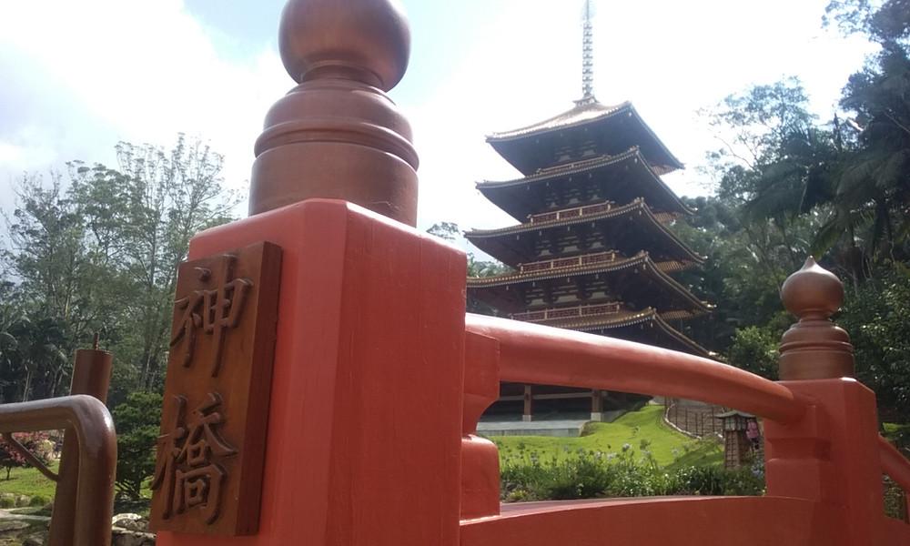 Torre de Miroku em meio a Jardim e árvores