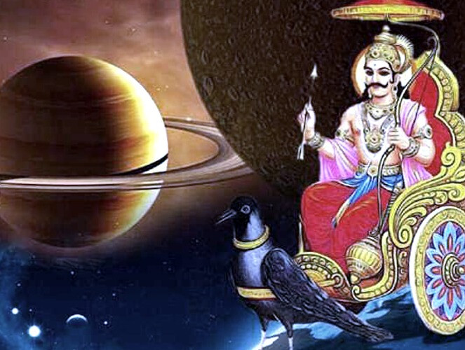Planeta Saturno e deidade Shani dev ao lado direito