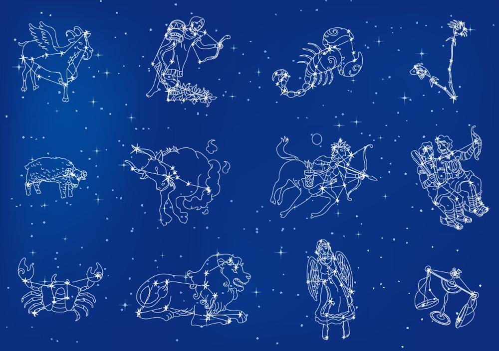 Imagem do céu noturno e Signos do Zodíaco