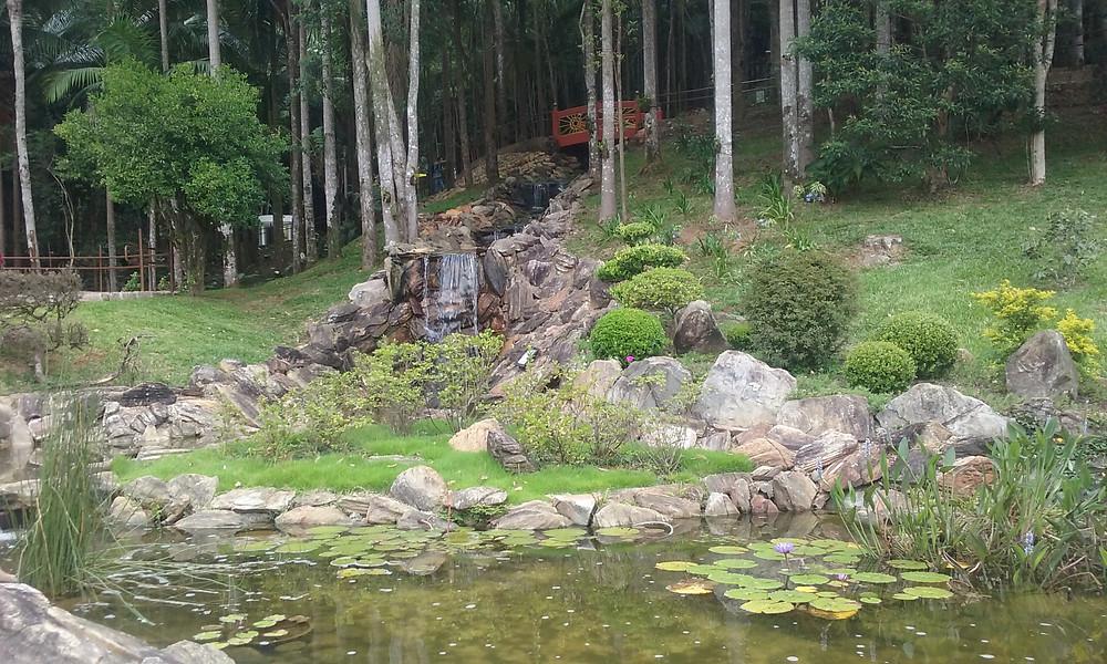 cachoreira, lago e jardim