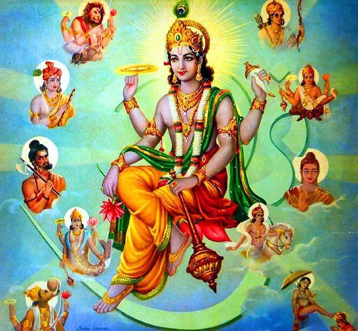 Imagem com Vishnu ao centro e os 10 avatares