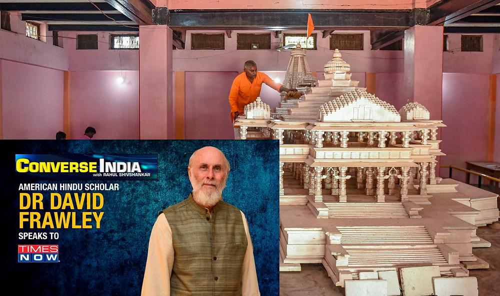 Maquete Templo ao fundo, figura entrevista oficial à frente