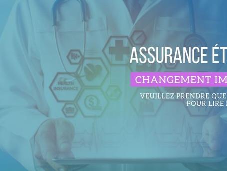 Assurances étudiantes - Changements importants