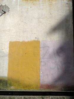Yellow rectngle on wall, Rome, Italy