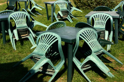 Green chairs, Corciano, Italy