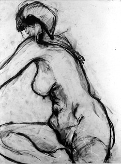 twisting seated figure with scarf