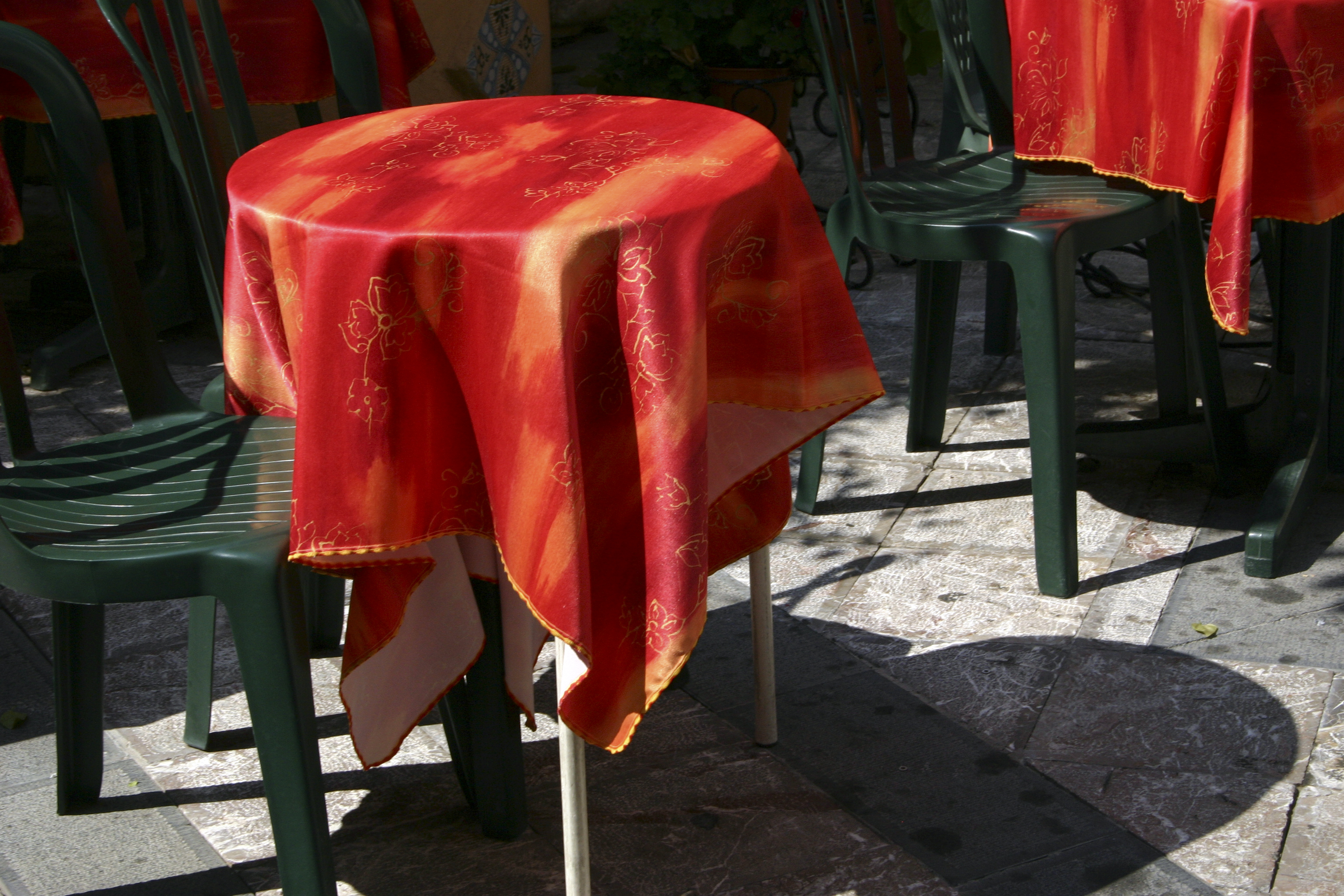 Tables, Santorini, Greece