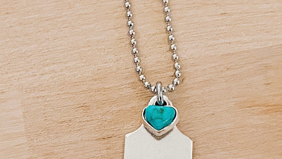 Blue Hearted Tag Necklace
