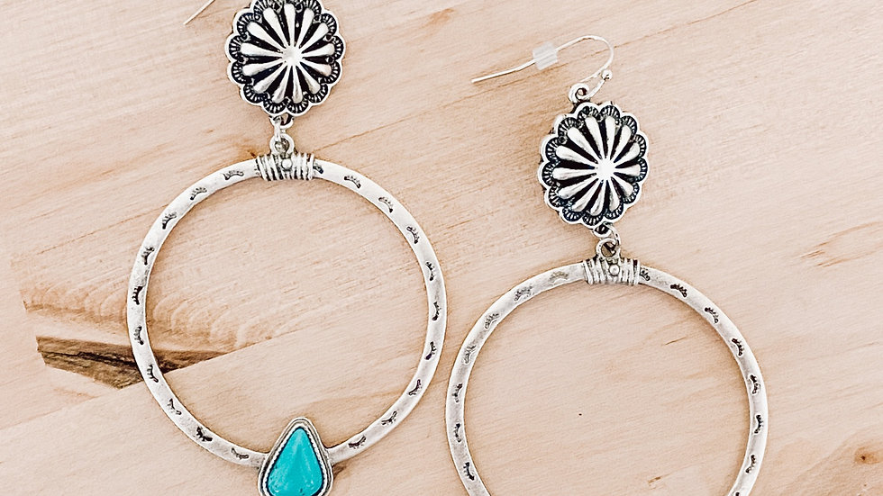 Turquoise Concho Hoops