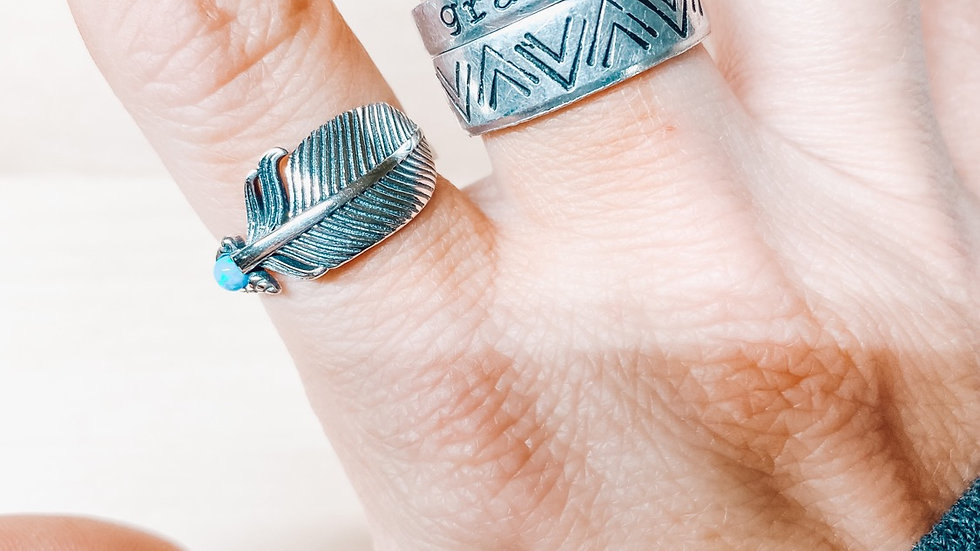 Turquoise Feather Band