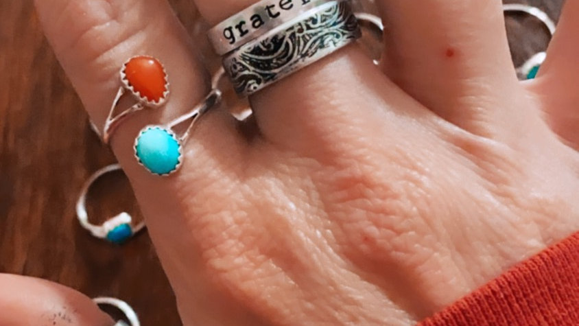 Turquoise/Coral Wrap Band