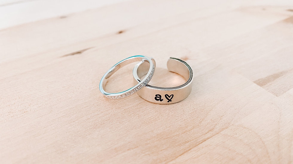 Lowercase Initial & Heart Band