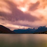 Bout du lac, nuages roses