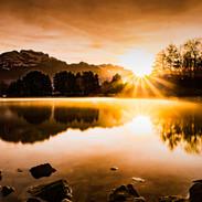 Brume du lac, soleil levant