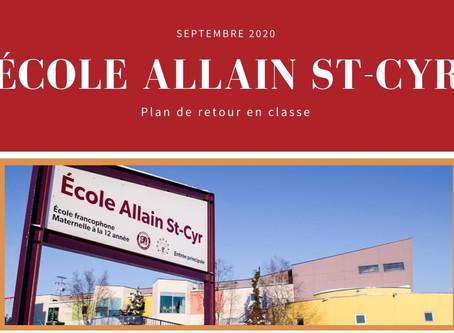 École Allain St-Cyr - Plan de retour en classe