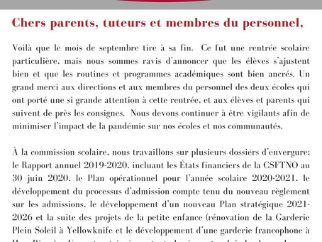 Infolettre  - 30 septembre 2020