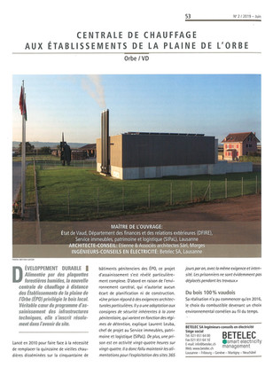 La centrale de chauffe des EPO dans Edifice Magazine #2 juin 2019