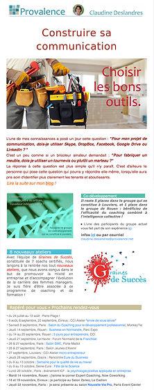Newsletter Provalence Coaching Claudine Deslandres