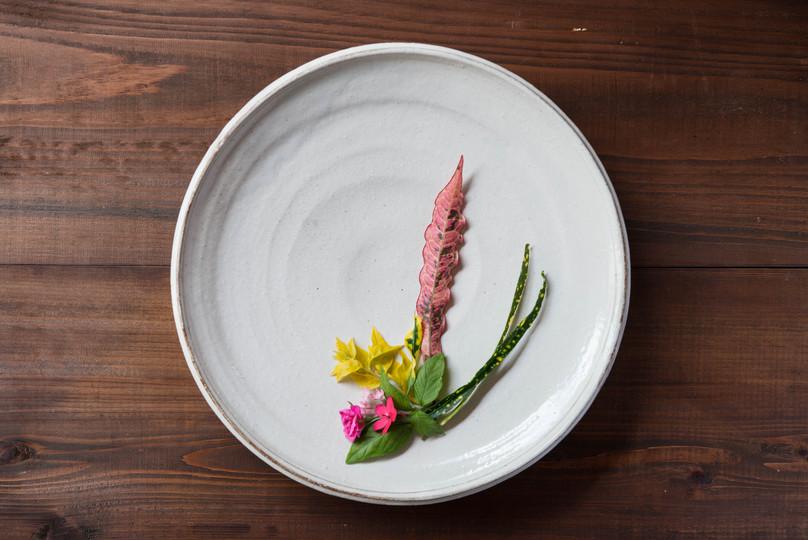 粉引 高台皿