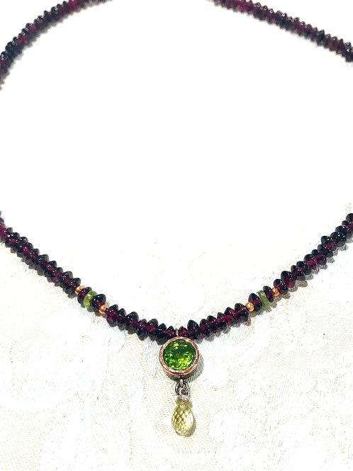 Garnet & Peridot Necklace