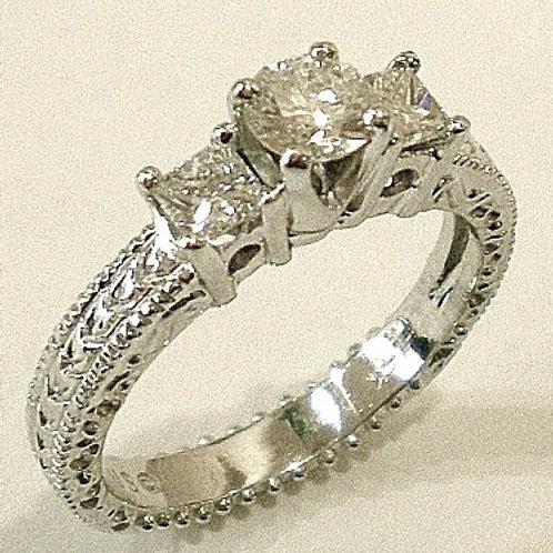 Round Brilliant Cut with Princess Cut Side Diamonds
