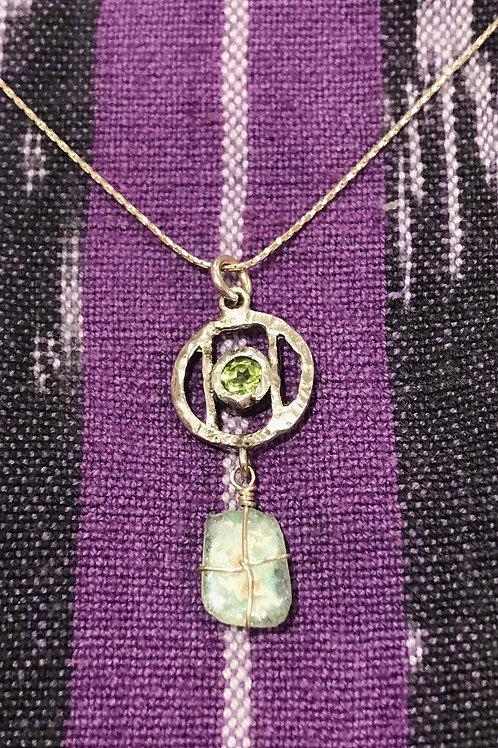 Peridot Pendant w/Green Glass
