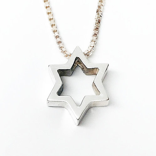 Small Thick Open Star of David Pendant