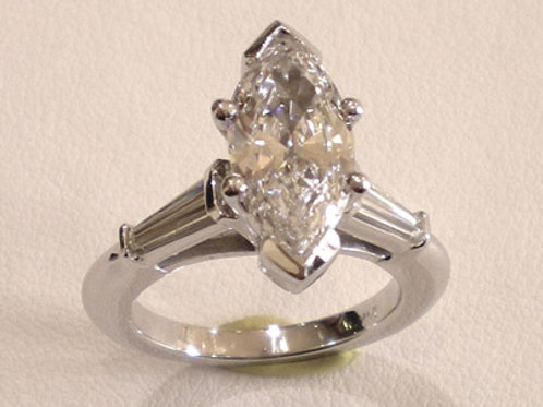 Custom Made Platinum Marquise Engagement Ring