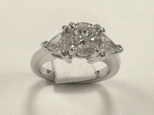 Custom Made Platinum Round Engagement Ring