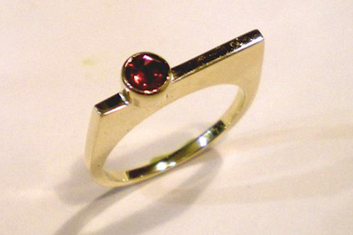 Thin Shorter Square Top Ring with colored gemstone