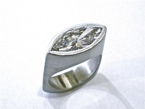 Custom Platinum Marquise Cut Diamond Ring