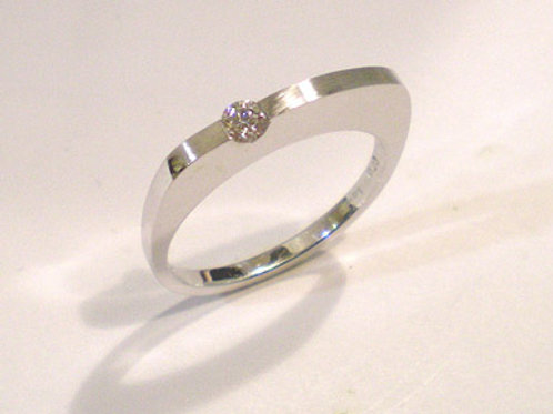 Thinner Dome Band with Diamond